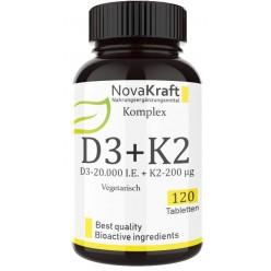 Витамин D3 20.000 I. U. + 200 мкг витамин К2 - ОЧЕНЬ большое количество в банке - 120 штук - ЗАПАС НА 1,5 ГОДА! Каждая таблетка содержит 20.000 международных единиц! Продукт из ГЕРМАНИИ