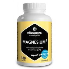 Магний 3 комплекс, 350 мг, 180 веганских таблеток, ключевой минерал для мышц, костей, зубов, нервной системы и для энергии! ЗАПАС НА 6 МЕСЯЦЕВ! Из Германии