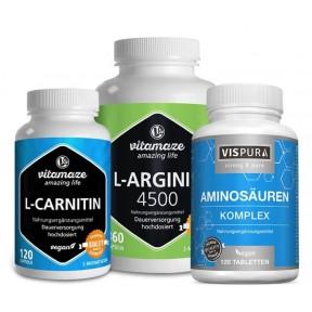 Комплекс с L-аргинином, L-карнитином и аминокислотами, повышает устойчивость стрессам, увеличивает умственную и физическую энергию. ЗАПАС НА 6 МЕСЯЦЕВ! Из Германии