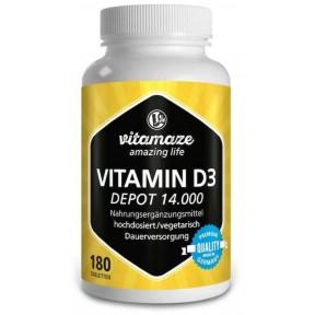 Витамин D3 очень высокой дозировки 14.000 МЕ, 180 вегетарианских таблеток. ЗАПАС НА 6 МЕСЯЦЕВ! Из Германии