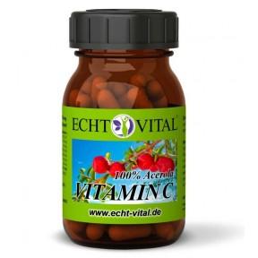 Натуральный витамин С, 60 капсул, содержит 420 мг порошка плодов ацеролы. Без синтетической аскорбиновой кислоты! Без искусственных добавок! Из Германии.