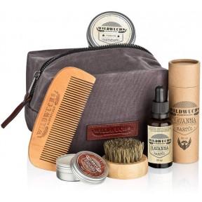Мужской набор для ухода за бородой, высокого качества. Сделано в Германии. В подарочном наборе масло, воск для бороды, гребень, щетка + специальная сумка.