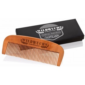 Гребень для бороды ручной работы из 100% грушевого дерева, антистатический. Хорошо распутывает, ухаживает и формирует длинные и короткие волосы бороды. Из Германии