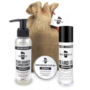 BarFex 5-в-1 набор по уходу за бородой. Отличный подарок для мужчин! 100% натуральные масла, воск, шампунь, бальзам после бритья. По уникальной рецептуре. Из Германии