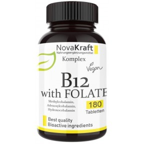 Витамин B12 - все активные формы + депо + активный фолат (5-MTHF) - веганский, высокая доза, ЗАПАС НА 1 ГОД! Лучший набор для