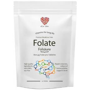 ФОЛАТ (Витамин B9) в активной форме фолата - метилфолат 800 мкг фолата на 1 таблетку- 120 шт. БОЛЬШОЙ ЗАПАС НА 4 МЕСЯЦА! Поддерживает работу мозга, нервной системы. Из ГЕРМАНИИ