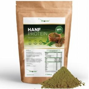 Белковый порошок из семян конопли. 1100 г, 50% содержание белка, растительный протеин, для веганов, содержит омега 3, омега 6, 100% чистота, ИЗ ГЕРМАНИИ