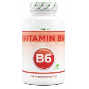 Витамин B6, пиридоксин, запас на 6-7 МЕСЯЦЕВ, поддерживает нервную систему, повышает иммунитет, способствует образованию эритроцитов, веганский, ИЗ ГЕРМАНИИ
