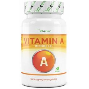 Витамин А - 10.000 I. E., ретинил ацетат, БОЛЬШОЙ ЗАПАС НА 8-9 МЕСЯЦЕВ, улучшает иммунитет, зрение, без нежелательных добавок, веганский, ИЗ ГЕРМАНИИ