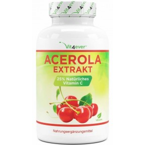 Ацерола, натуральный витамин С, ЗАПАС НА 4-5 МЕСЯЦЕВ, 100% веганский, снижает усталость, защищает клетки, укрепляет нервы, поднимает иммунитет, ИЗ ГЕРМАНИИ