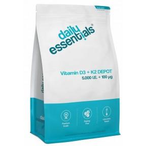 Витамин D3 5000 I. E + витамин К2 100 мкг менахинон, MK7 Депо, Огромный запас на 1,5-2 ГОДА, укрепляет иммунитет, кости, зубы, волосы, нервную систему, ИЗ ГЕРМАНИИ