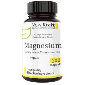 Магний, оксид магния, 665 мг магния на капсулу! Из них 400мг элементарного магния, 100% чистота, натуральный продукт! Веганское качество, укрепляет нервы, сердце, ИЗ ГЕРМАНИИ