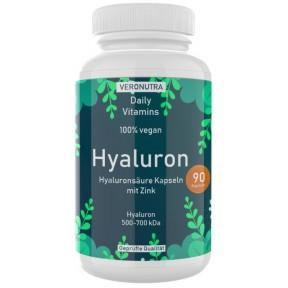 Гиалуроновая кислота + цинк от Veronutra, 90 капсул, на 3 месяца применения, 500 мг гиалурона+цинк на капсулу, веганский, для здоровья кожи, хрящей, суставов, сухожилий, ИЗ ГЕРМАНИИ