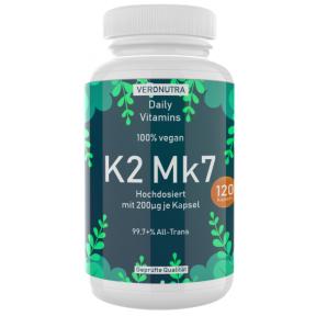 Витамин К2 МК7 VITAL, запас на 4-5 МЕСЯЦЕВ, 120 капсул, 100% веганский, важен для мышц, в соединительной ткани, легких, сердца и почек, важен для витамина D3, ИЗ ГЕРМАНИИ