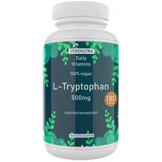 L-триптофан, запас на 6-7 МЕСЯЦЕВ, 180 капсул, 500 мг, веганские, аминокислота,  используют для снятия тревожности, стресса, при депрессиях, нормализации сна, ИЗ ГЕРМАНИИ