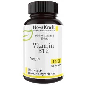 Витамин B12, метилкобаламин, Novakraft, 150 капсул, запас на 5-6 МЕСЯЦЕВ, восстанавливает нервную систему, улучшает сон, кровообращение, дает энергию, поддерживает работу мозга, ИЗ ГЕРМАНИИ