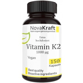 Витамин K2 (MK7, all-trans), БОЛЬШАЯ ДОЗА 1000 мкг, Запас 150 капсул на 5-6 МЕСЯЦЕВ, веганский, важно принимать вместе с D3, регулирует усвоения кальция, укрепляет сосуды, ИЗ ГЕРМАНИИ