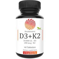Витамин D3 10.000 ед + витамин К2 - 200 мкг, ЗАПАСА НА ХВАТАЕТ НА 4-5 МЕСЯЦЕВ ПРИЁМА! Укрепляет кости, зубы, волосы, иммунитет, восстанавливает клетки мозга, нервную систему. ИЗ ГЕРМАНИИ