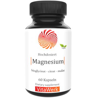 Комплекс МАГНИЯ, ЗАПАС НА 2-3 МЕСЯЦА! 3 формы магния. Активный Бисглицинат + Магний малат + Цитрат, укрепляет костную ткань, помогает восстанавливать нервную систему, укрепляет сосуды, из ГЕРМАНИИ