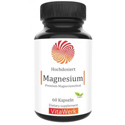Магний цитрат, Запас на 2-3 МЕСЯЦА, ВЫСОКОЕ содержание элементарного магния, 100% чистота, для здоровья нервной системы, мозга, костей, глаз и мужской силы ИЗ ГЕРМАНИИ