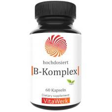 Комплекс витаминов B, Запас на 2-3 МЕСЯЦА, 60 капсул, веганский! Для нервной системы, улучшает работу мозга, укрепляет сосуды, сердце, 100% чистота, поддерживает работу печени, ИЗ ГЕРМАНИИ