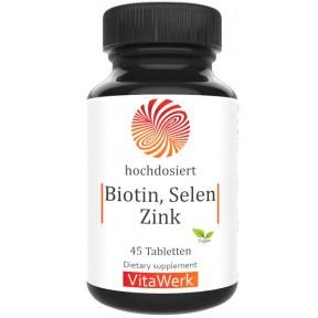 Биотин + селен + цинк, запас на 1,5-2 месяца, укрепляет и стимулирует рост здоровых волос, ногтей, улучшает состояние кожи, содержит 10 000 мкг биотина, 100 мкг селена и 10 мг цинка на таблетку, ИЗ ГЕРМАНИИ