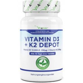 Витамин D3 10.000 I. E. + 200 мкг витамин К2 - большое количество в банке - 100 таблеток! Каждая таблетка содержит 10.000 международных единиц! ХВАТАЕТ НА 3-4 МЕСЯЦА ПРИЁМА!  Продукт из ГЕРМАНИИ