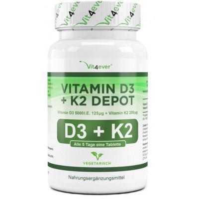 Витамин D3 5.000 I. E. + 200 мкг витамин К2 - ОЧЕНЬ большое количество в банке - 180 таблеток! ХВАТАЕТ НА 6-7 МЕСЯЦЕВ ПРИЁМА!  Продукт из ГЕРМАНИИ