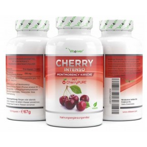 Cherry Intenso - 100 капсул с экстрактом 550 мг-премиум: CherryPure® - Montmorency Кислая Вишня из Германии