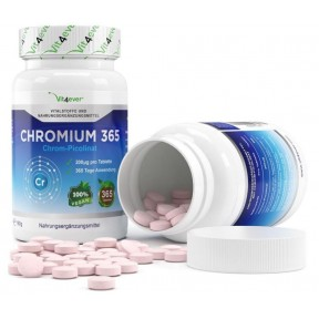 Хром 365 - ОЧЕНЬ большое количество в банке - 365 таблеток!  ХВАТАЕТ НА 1 ГОД ПРИЁМА! Содержит 200 мкг пиколинат хрома на 1 таблетку! Продукт из ГЕРМАНИИ