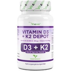 Витамин D3 20.000 I. U. + 200 мкг витамин К2 - ОЧЕНЬ большое количество в банке - ЗАПАС НА 2 ГОДА! Каждая таблетка содержит 20.000 международных единиц! Продукт из ГЕРМАНИИ
