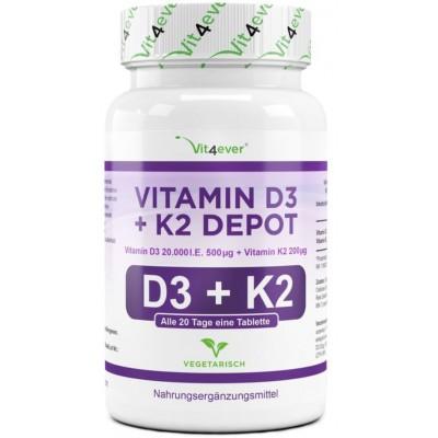Витамин D3 20.000 I. E. + 200 мкг витамин К2 - большое количество в банке - 100 таблеток! Каждая таблетка содержит 20.000 международных единиц НА 3-4 МЕСЯЦА ПРИЁМА! Продукт из ГЕРМАНИИ