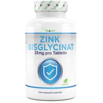 Цинк Бисглицинат-25 мг - ОЧЕНЬ большое количество в банке - 400 таблеток ХВАТАЕТ НА 1,5 ГОДА ПРИЁМА! Продукт из ГЕРМАНИИ